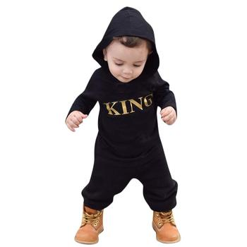 New born Baby Clothes Winter Baby Rompers Newborn Onesie Long Sleeve Jumpsuit Baby Boy Rompers KING Outfit Hooded Romper P30 baby rompers autumn long sleeve newborn baby boy girl bear toddler jumpsuit romper baby clothes hooded 2018 cute clothing 2yrs