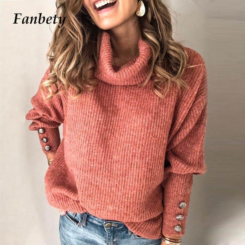 Winter Turtleneck Sweater Women Solid Lantern Sleeve Kintwear Lady Casual Rivet Sleeve Pullover Tops Streetwear Dropshipping 5XL