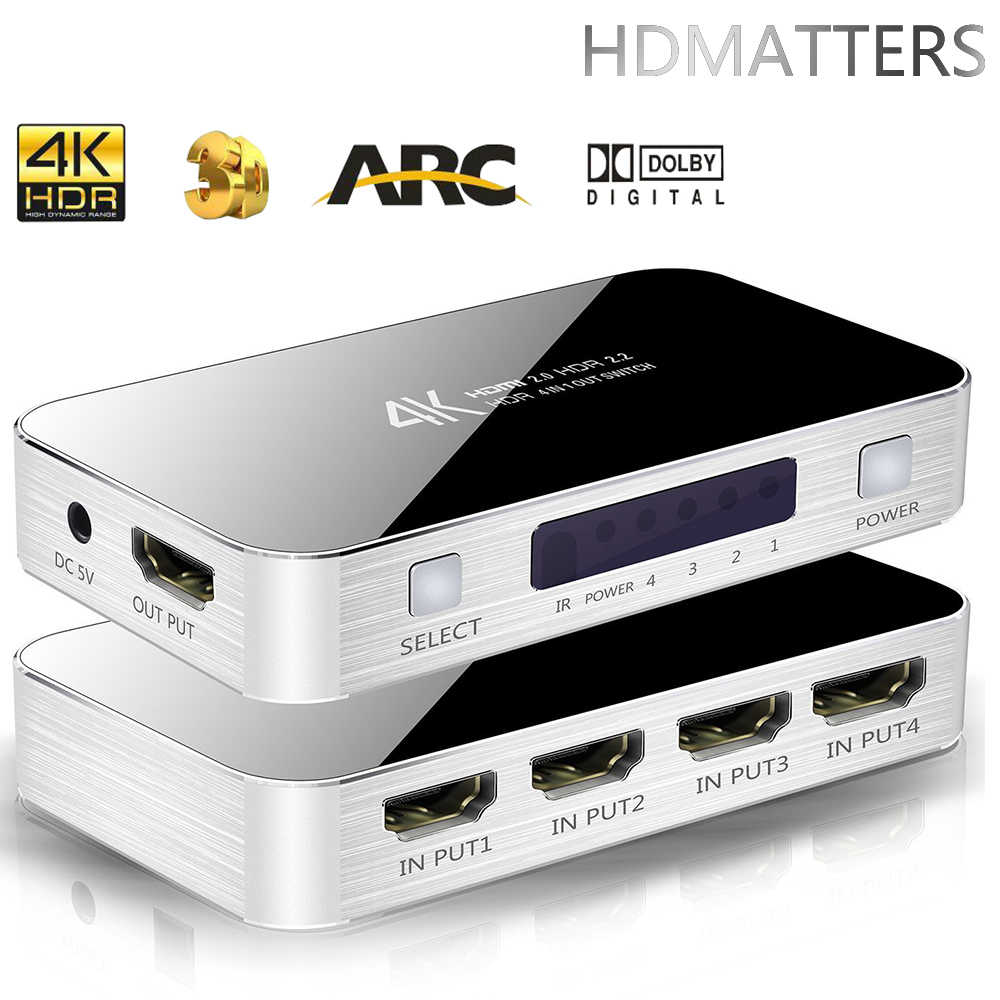 4K HDMI Switcher HDMI 2.0 Switch HDMI audio extractor HDR ARC splitter 4X1 with remote(HDMI in to HDMI+toslink+stereo audio out)