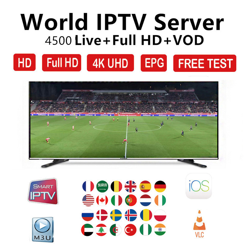 4500+ Live World Europe IPTV Subscription France Brazil Arabic Dutch Sweden French Poland Portugal For Smart TV Box IPTV M3U