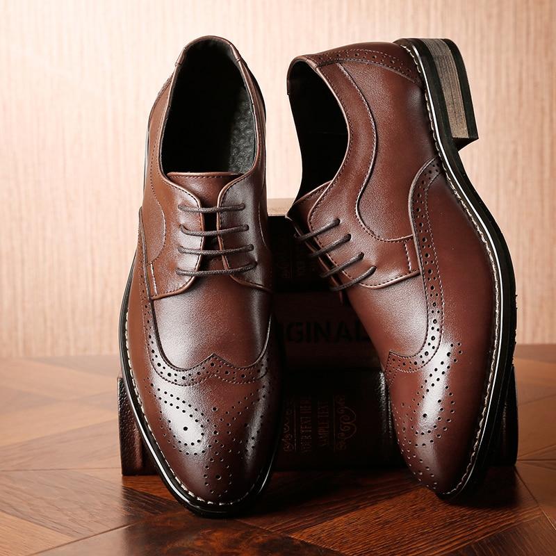 2019 Genuine Leather Men Formal Shoes Brogue Elegant Classic Business Wedding Social Mens Dress Shoes #MP222