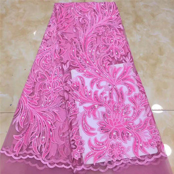 African Velvet Sequined Lace Fabric 2020 Embroidered Nigerian Mesh Lace Fabric High Quality French Tulle Lace Fabric for dress