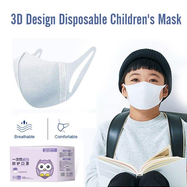 50pcs Disposable 3 Layer Filter Children Mouth Face Mask Dust PM2.5 Masks Breathable Anti-dust Virus Flu Protective Masks