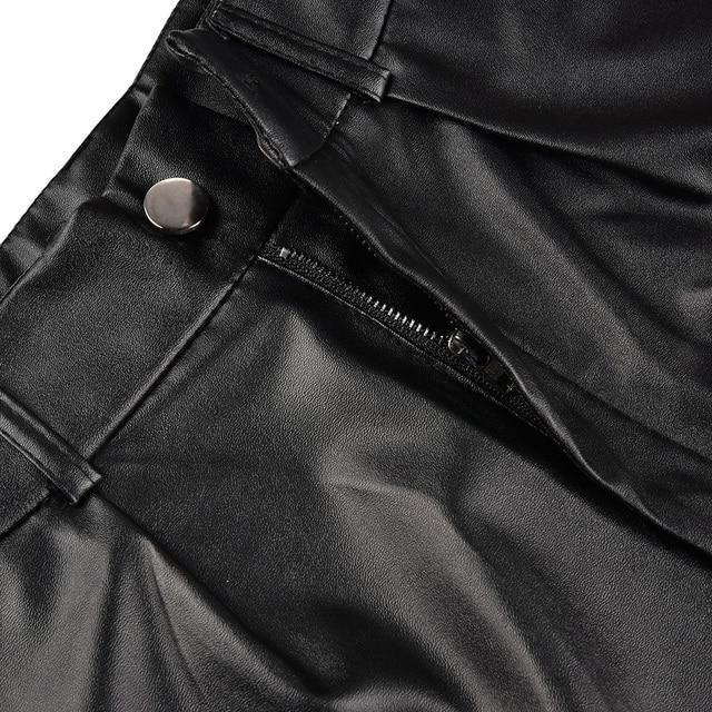 Women Leather Shorts England Style Bottoms Black Short Mujer Casual PU Leather Shorts feminino Sexy High Waist Shorts with Belt 3