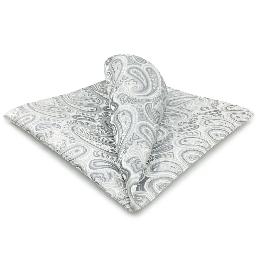 AH31 Silver White Paisley Mens Pocket Square Silk Handkerchief Novelty Classic