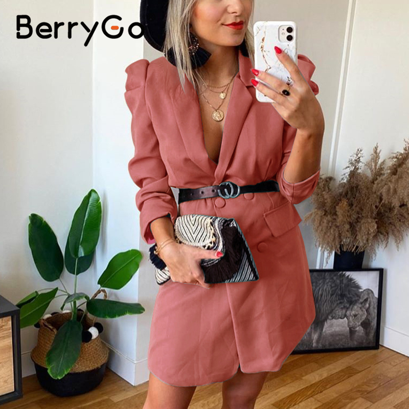 BerryGo button blazer dress straight women Puff sleeve casual high waist belt green dress Elegant 2020 solid office dress ladies