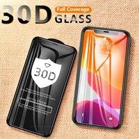 Vidrio Protector 30D para iPhone, Protector de pantalla de vidrio templado para iphone XR X 10 11 12 Pro XS Max 6 6s 7 8 Plus 12 Mini