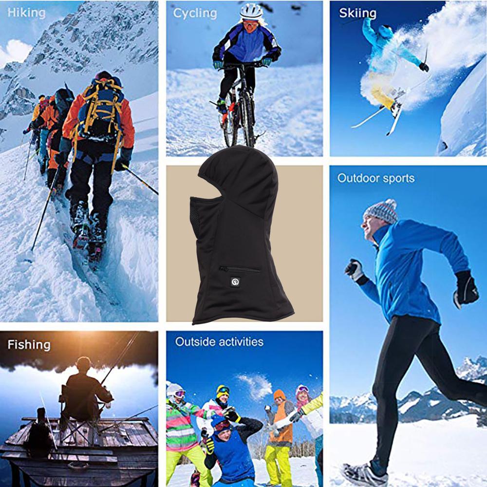Masque chauffant extérieur hiver chaud moto masque ski placage ski capuche police masque chaud