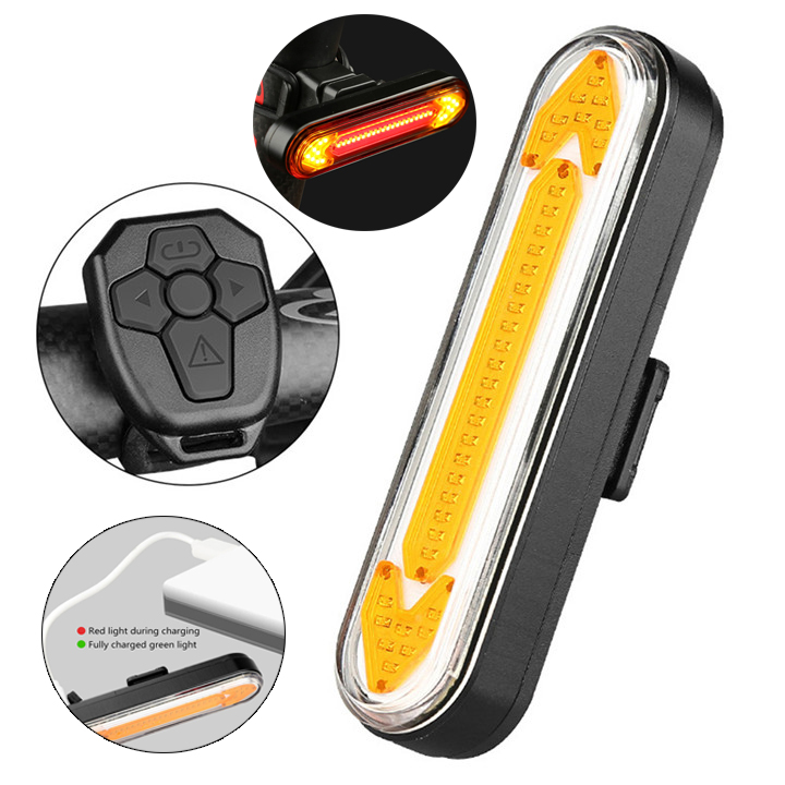 Bike Rear Light Wireless Remote Taillight Cycle Light LED Rechargeable Bicycle Turn Signal Light Safety Warning Bike Accessories