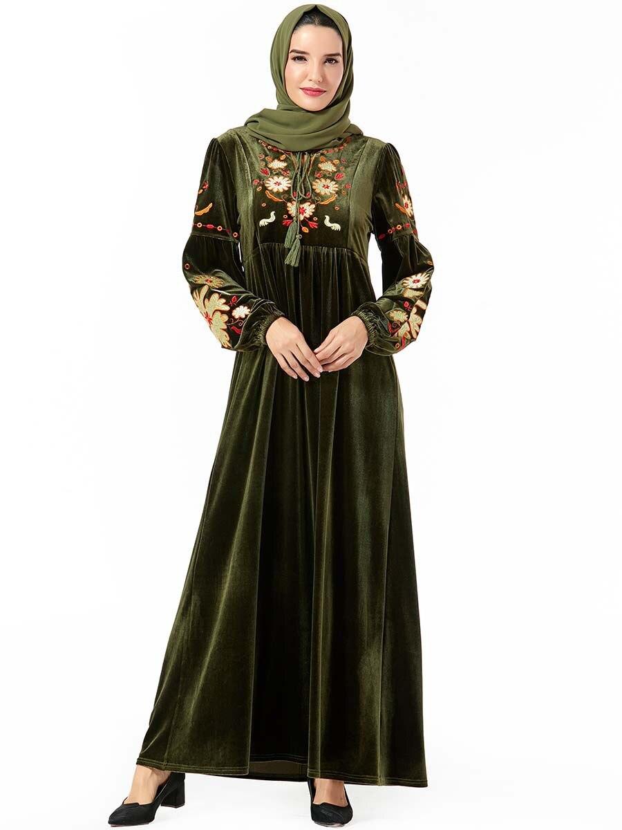Islamic Clothing Elegant Velvet Muslim Dress Women Maxi Kimono Jubah Long Robe Dubai Abaya Hijab Dresses UAE Turkey Arabic Dress
