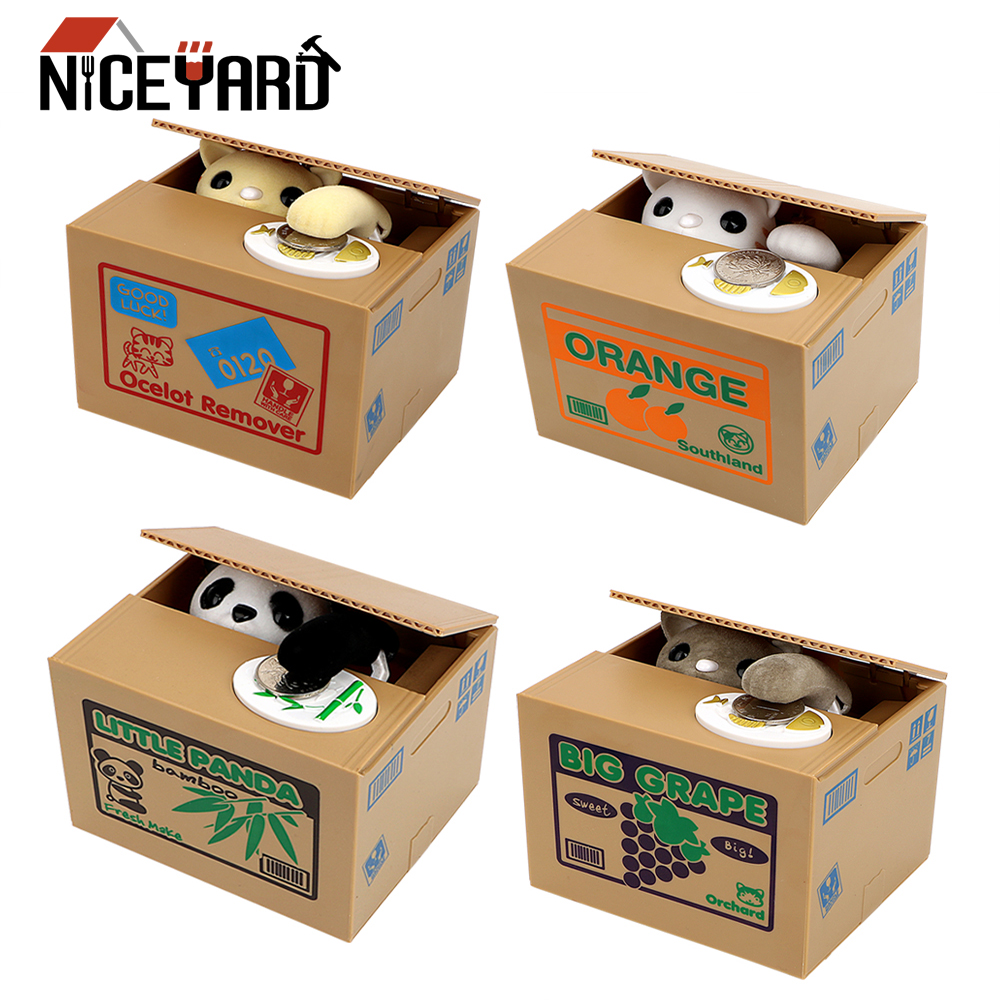 NICEYARD Electronic Money Boxes Plastic Hot Sale Piggy Banks Cute Automated Panda Cat Steal Coin Bank Money Saving Box Kids Gift