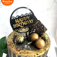 9cm Round Lace Double Layers Black Gold Silver Acrylic Happy Birthday Cake Topper Kids Cupcake Decoration Party Supplies