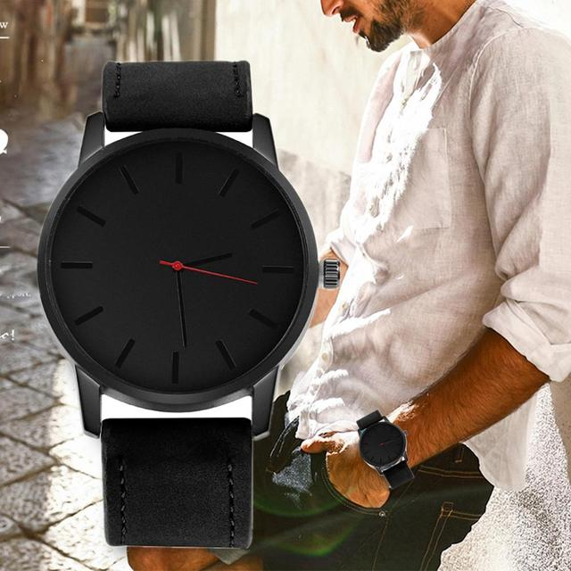 Fashion Men's Watch Large Dial Military Men Watch Leather Sport Watches For Men Clock Wristwatch Reloj Hombre