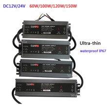 AC110V 220V to DC12V 24V 60W/100W/120W/150W/200W LED ultra-thin waterproof IP67 power supply transformer for led strip light