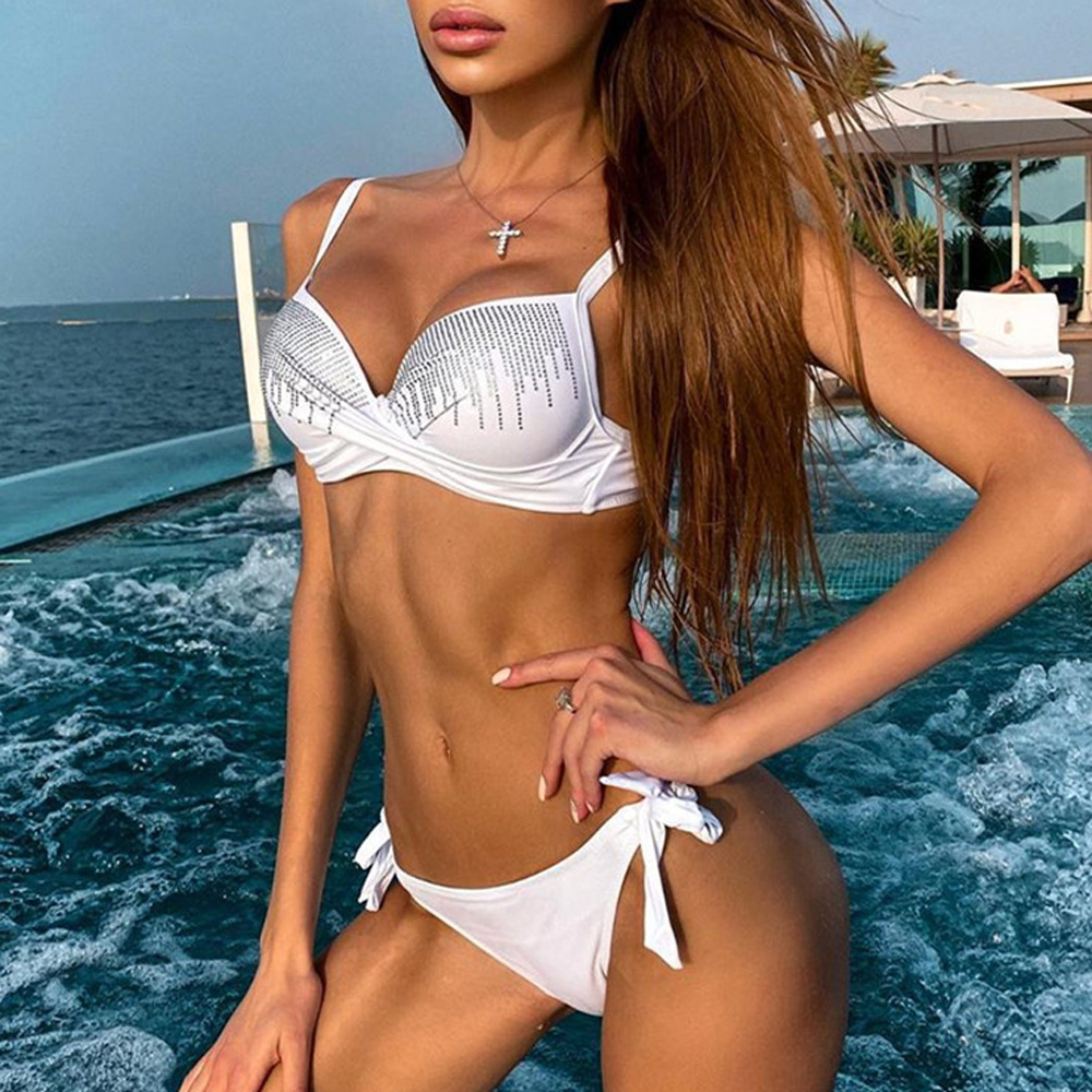 Bikini 2020 New Solid Sexy Rhinestone Bikini Push Up Swimsuit With Diamonds Bandage Adjustment Swimsuit Summe Bathing Suit R