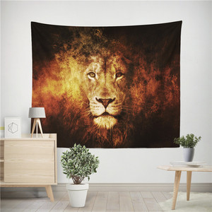 Image 3 - Lion Tiger Tapestry Colorful Animal Tapestry Wall Hanging Lion and Tiger Printed Decoration