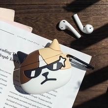 3D Cartoon Cool Sunglasses Cat Bluetooth Earphone Case Prote