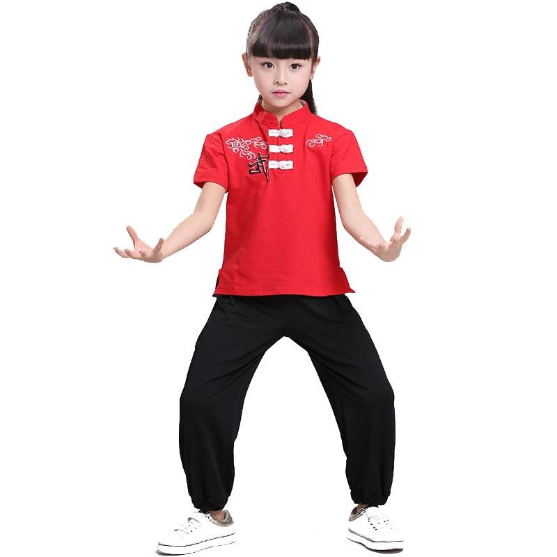 Традиционный китайский костюм кунг фу, Детские боевые искусства, униформа для ушу, костюмы с короткими рукавами для мальчиков и девочек 110 180 см|Комплекты одежды| | АлиЭкспресс