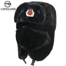 CAMOLAND Soviet Army Military Badge Bomber Hat Men Women Russia Ushanka Hats Faux Rabbit Fur Earflap Snow Caps Trapper Hats