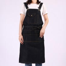 Fashion black Denim Apron for Chef kitchen woman men with Tool Pockets BBQ Adjustable M to XXL