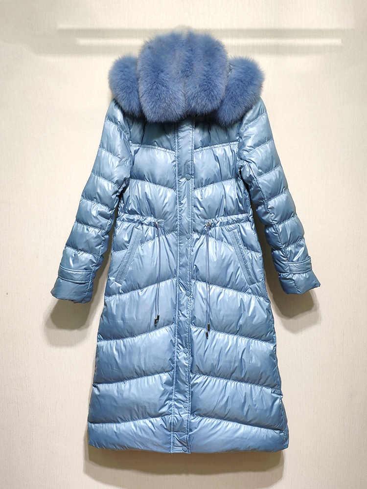 Winter Unten Jacke Frauen Lange Ente Unten Mantel Weibliche Echt Fox Fell Kapuze Starke Warme Jacken Koreanische Outwear Kleidung LW1453