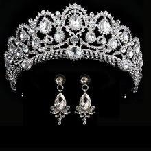 Corona de boda reina, tiara nupcial, corona nupcial con pendiente, diadema de lujo con diamantes de imitación, joyería para el pelo de novia, adornos