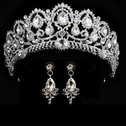 wedding crown queen bridal tiara bridal crown with earring luxury rhinestone headband diadem bride hair jewelry ornaments