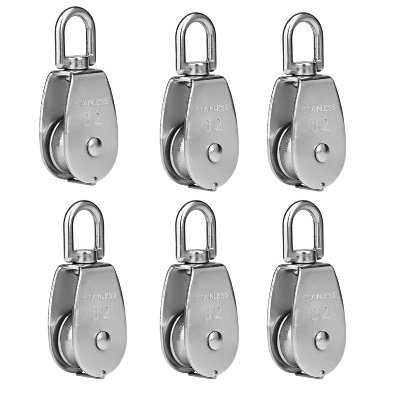 HHO-6 Pack M32 Lifting Single Pulley Roller Loading 551Ibs, 304 Stainless Steel Heavy Duty Single Wheel Swivel Lifting Rope Pull
