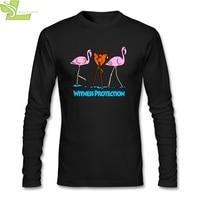 Chicken And Flamingos Witness T Shirt For Men CrewNeck Long Sleeve Cotton New Design Men T shirt 3XL