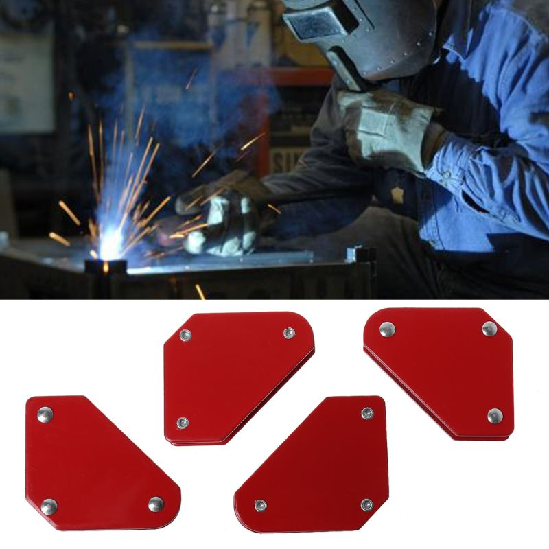 4pcs Mini Triangle Magnetic Welding Holder 9LB Fixed Angle Positioner Without Switch