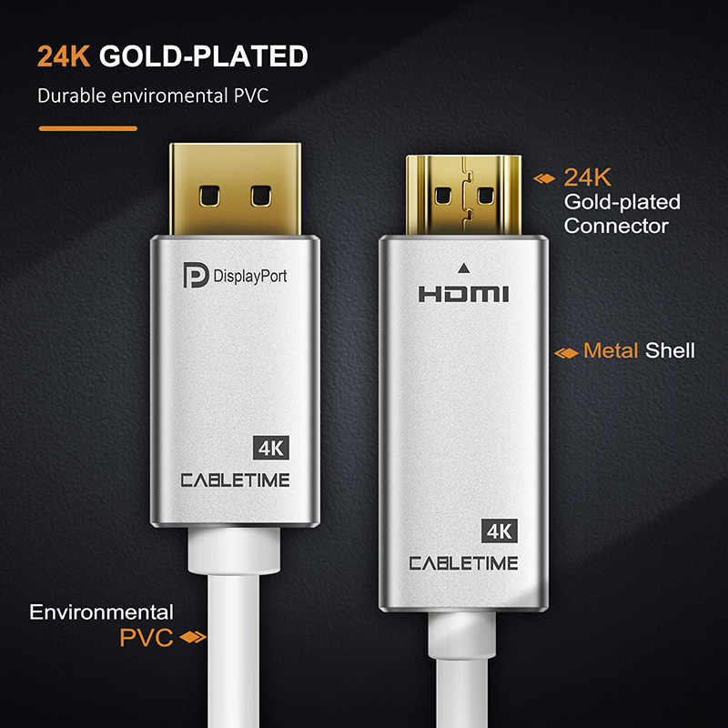CABLETIME DisplayPort a HDMI Cable de 4K a 30Hz DP a HDMI DP M/M chapado en oro de DP 1,2 para HDTV proyector portátil PC Monitor C085