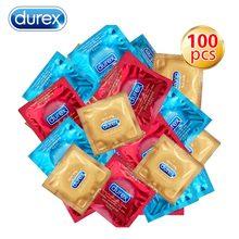 Durex preservativo misturado 100 unidades/pacote sensação valor 4 tipos ultra fino lubrificado preservativo para homem natural látex adulto sexo brinquedo produtos