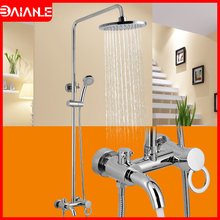 цена на Bathroom Shower Faucet Set Waterfall Bathtub Faucet Shower Mixer Tap Bath Shower Tap Wall Mounted Bathroom Shower Head Rainfall