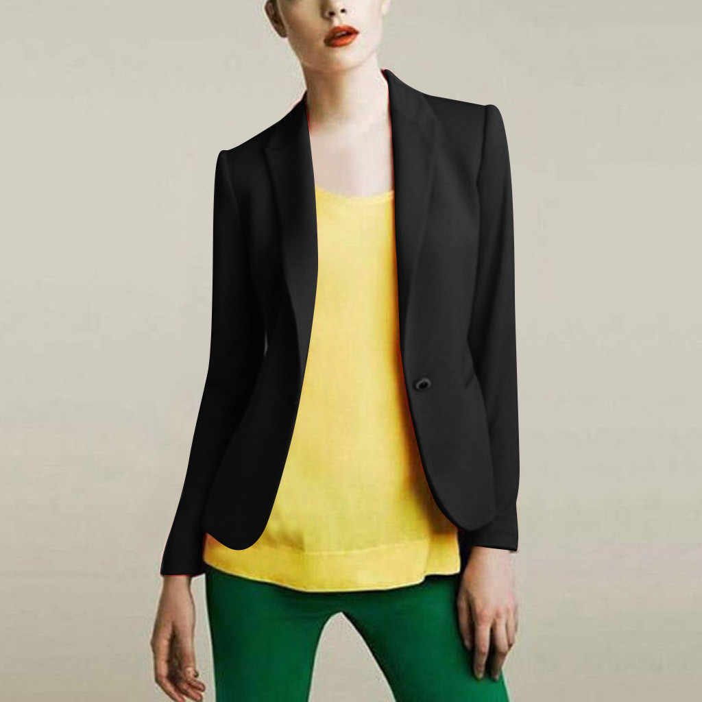 Negro de las mujeres 2019 nuevo Formal chaquetas dama Oficina traje de trabajo bolsillos chaquetas de abrigo de las mujeres chaqueta mujer Chaquetas