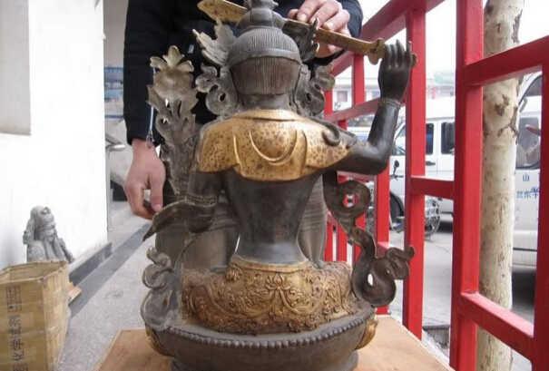 USPS Ke Amerika Serikat S1100 23 Buddha Perunggu Tembaga Gild Manjusri Avalokitesvara Kwan-Yin Guan Yin Patung B0401