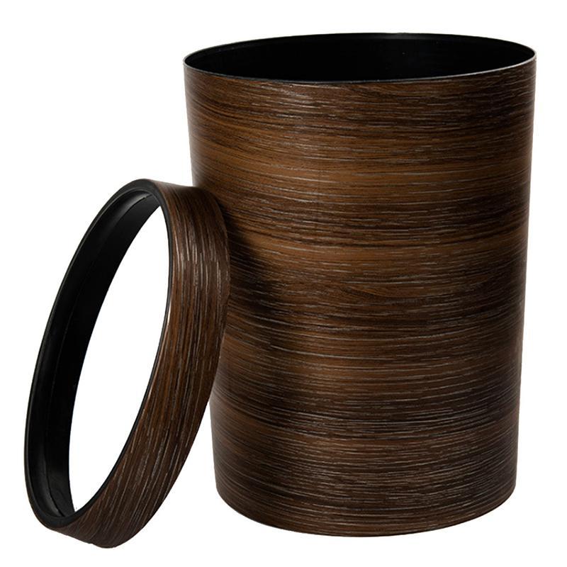 HIPSTEEN Retro Style Pressing Ring Plastic Trash Can Household Office Mimetic Wood Grain Garbage Bin Dark Brown Waste Bins  - AliExpress