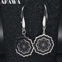 2021 moda joga Lotus kolczyk ze stali nierdzewnej kobiety czarna emalia kwiat życia spadek kolczyki biżuteria pendientes mujer E612992