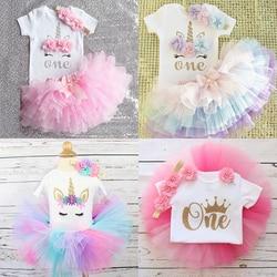 Roupa infantil de aniversário, primeiro vestido para meninas de um ano; roupas infantis de verão para bebês; trajes de batizado
