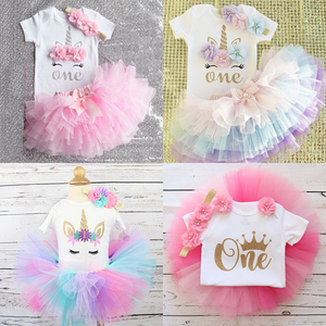 Baby Girl First Birthday Outfit Ensemble One Year Little Girl Dress Clothing Baby Child Summer Clothes Infant Christening Suits(China)