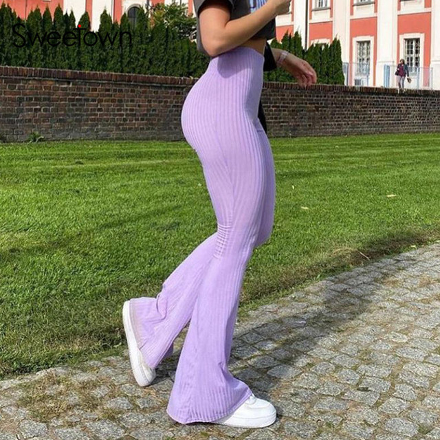 Sweetown Purple Ribbed Joggers Women Knitted Flare Pants Slim High Waist Aesthetic Trousers Female Vintage 90s Sweatpants 2