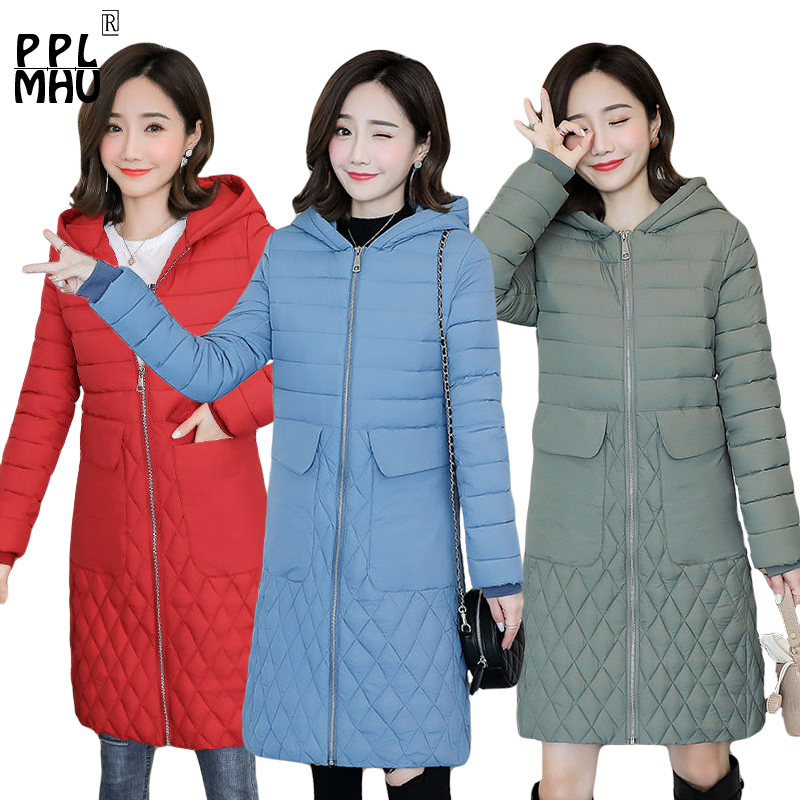 2019 New Autumn Winter Women's Large Size 3XL Cotton hooded Clothes Coat Casual Loose Long Section   Parkas   Jackets Outerwear