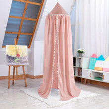 94.5in Heigh Crib Cotton Round Dome Bed Canopy Cute Balls Kids Play Tent Hanging Mosquito Net for Rooms Cribs for Infant Baby(China)