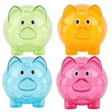 Cor criativa bonito porco banco presente de aniversário mealheiro contador moeda caixa de poupança de dinheiro jar moedas caixa de armazenamento presente de natal cofre