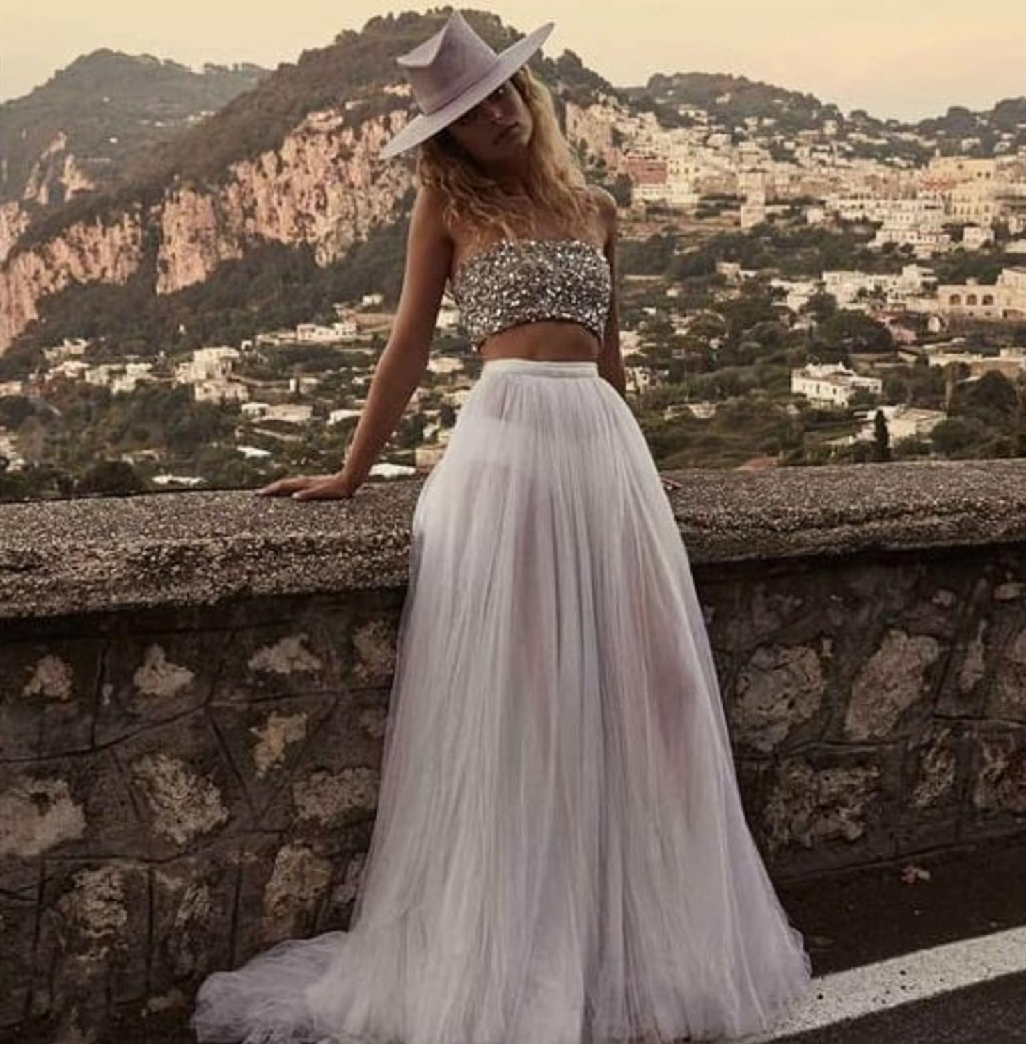 2020 Wedding Dress Boho Rustic Simple Vintage Wedding Dress Sexy Wedding Dress Boho Long Backless White Beach Two Pieces 2