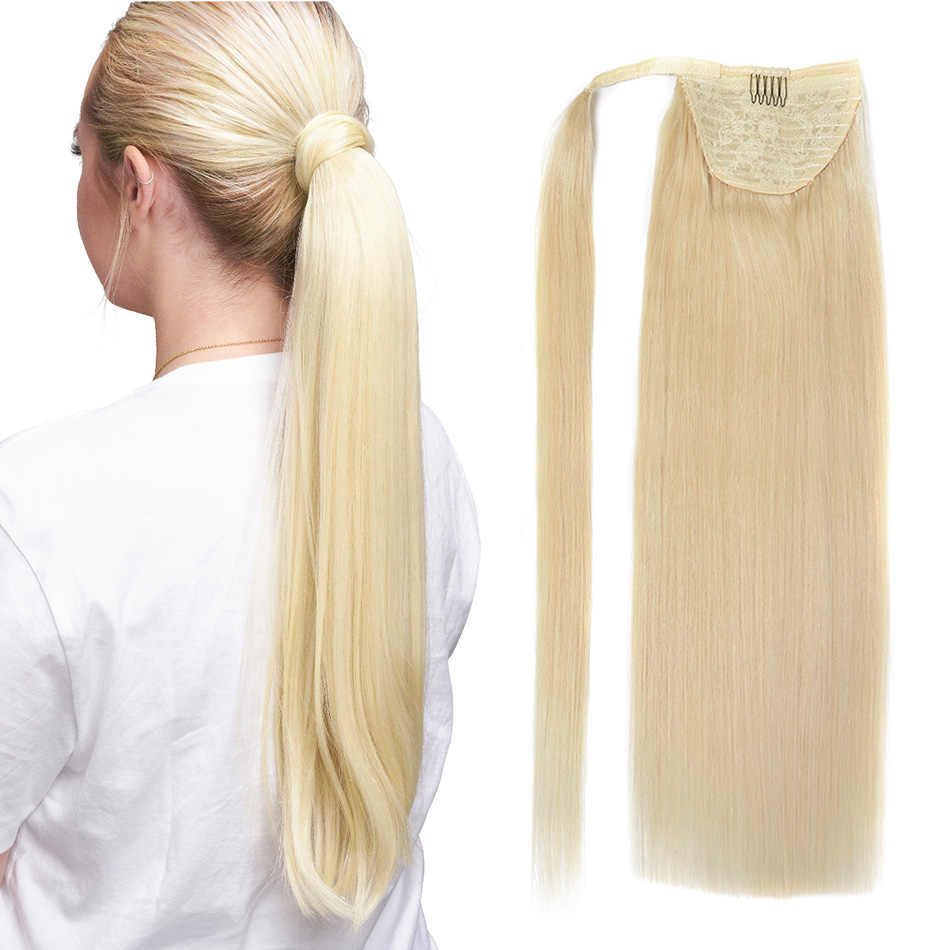 BHF Menselijk Paardenstaart Hair Straight Russische Machine Remy Pony Tail Extension 2 # Donkerbruin 613 # Blonde 120g 24inch Clip in Pruik