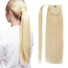 Russian-Machine Extension Hair Human Ponytail Blonde Clip-In Dark-Brown BHF Straight