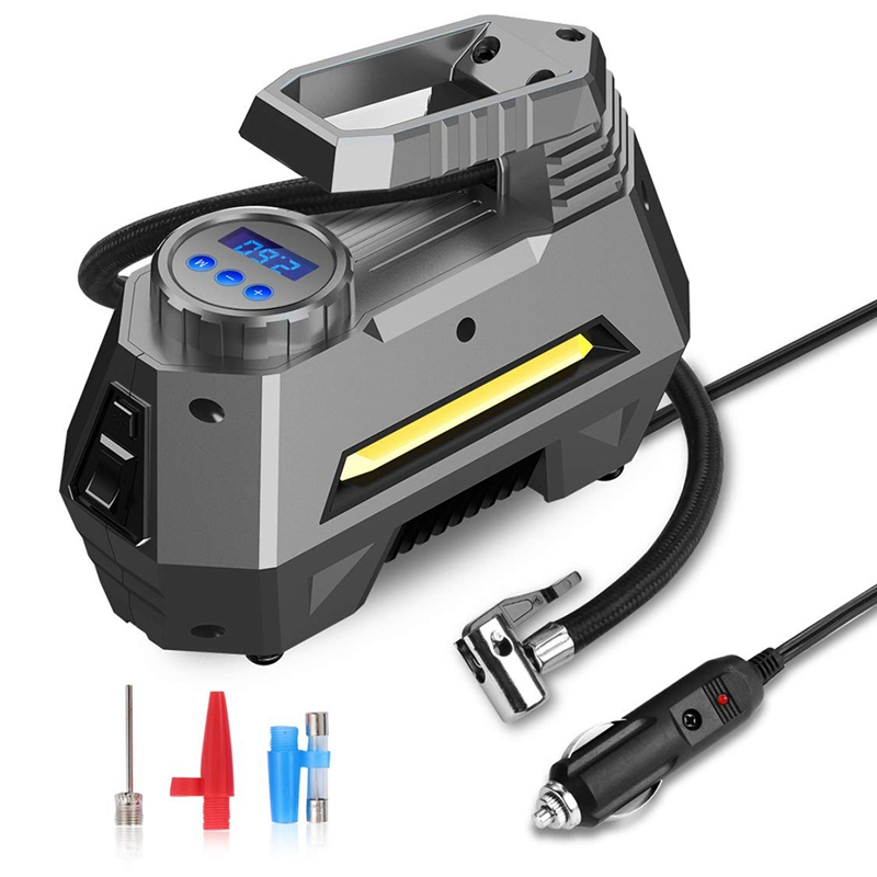 Portable Air Compressor Tire Inflator - Car Tire Pump With Digital Pressure Gauge (150 Psi 12V Dc), Bright Emergency Flashlight