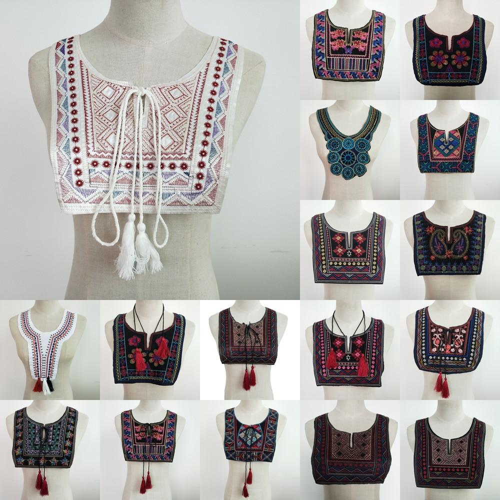 Hohe Qualität Spitze Kragen DIY Stickerei Ethnische Stil Spitze Ausschnitt Dekorative Kleidung Ausschnitt Zubehör Decals