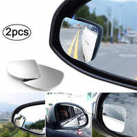 2PCS Car Blind Spot Mirror Adjustable Frameless HD Glass Angle Round Convex Parking Auxiliary Rear View Mirror Car Accessories