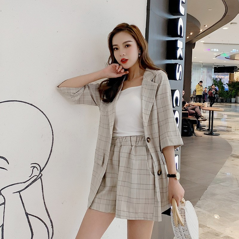 Nice Women Blazer Coat And Shorts 2 Piece Suit Nice Summer Korean Single Breasted Plaid Set Temperament Loose Outfits